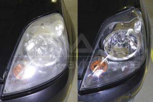 Фото полировки фар Ford Fiesta (1) до и после