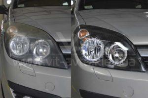 Фото полировки фар Opel Astra G до и после